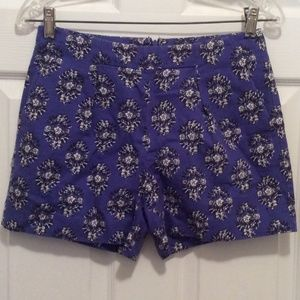 Madewell Shorts 0 Purple-Blue Black White Floral